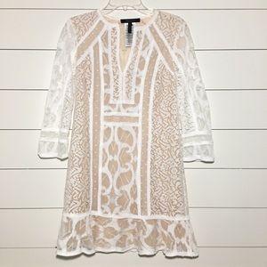 Bcbg maxazria cream white lace long sleeve dress